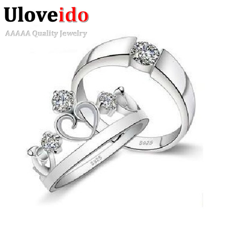 Vintage Silver Jewelry Crown Ring Wedding Rings For Men And Women Accessories White Bijoux Uloveido J413 In Bands From