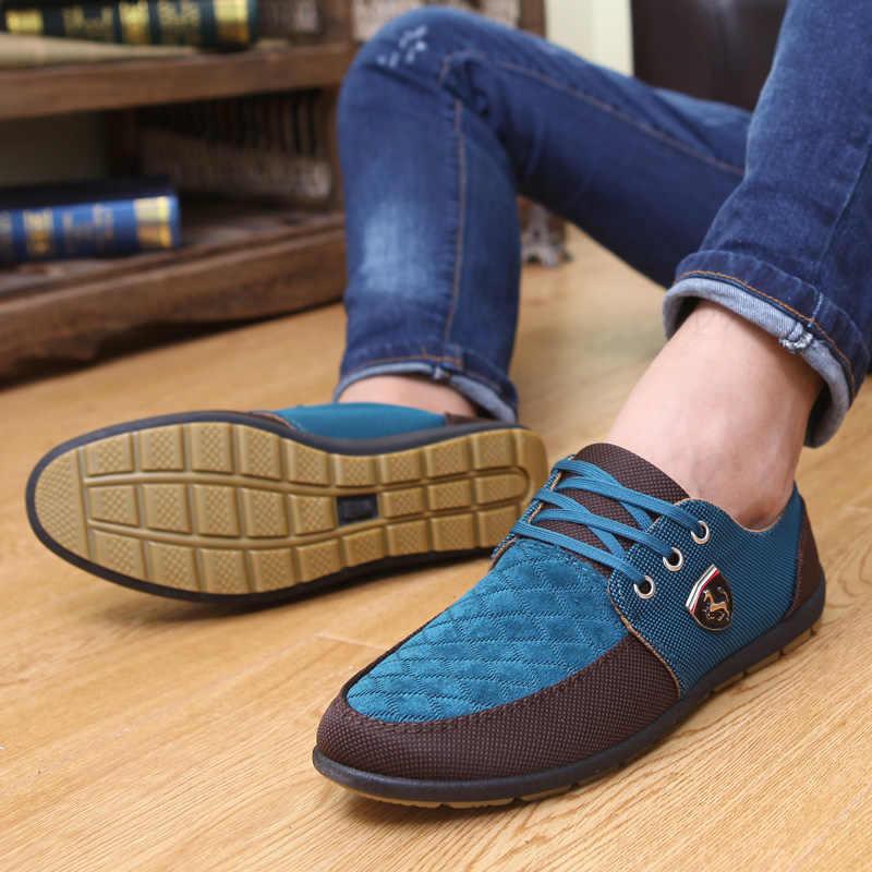 GOXPACER ฤดูใบไม้ร่วงชายรองเท้ารองเท้าผู้ชายผ้าใบรองเท้า Lacing Breathable Casual รองเท้ารองเท้าผู้ชายแฟชั่นฤดูร้อนสไตล์ขายส่ง
