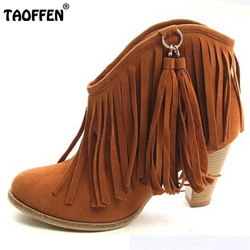 TAOFFEN Winter Ankle Boots High Heel Fringe Boot Women Fashion Gladiator Tassel Shoes Botas De Inverno Footwear Size 34-43