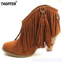 Autumn Winter Ankle Boots High Heel Fringe Boot Women Fashion Gladiator Tassel Shoes Botas De Inverno