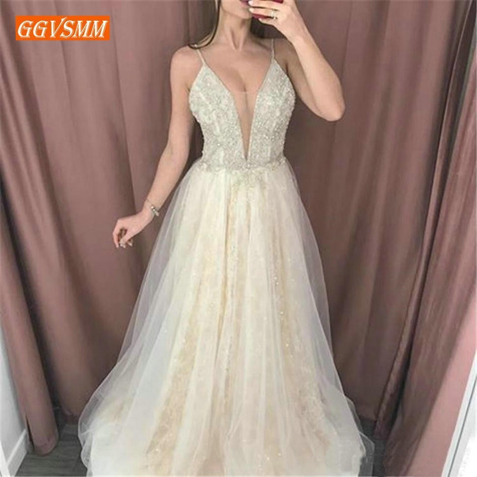 Graceful Champagne Lace   Prom     Dresses   Long Spaghetti Strap Tulle Appliques A Line   Prom     Dress   Sleeveless Beach Evening Pary Gowns