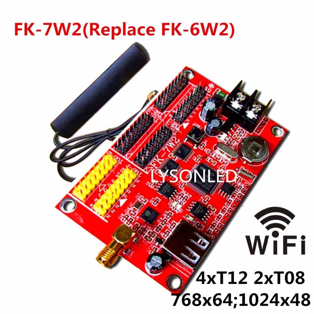 FK-6W2 WIFI LED Control Card Support Full Color LED Sign, Updated Program via Mobile App or USB-disk