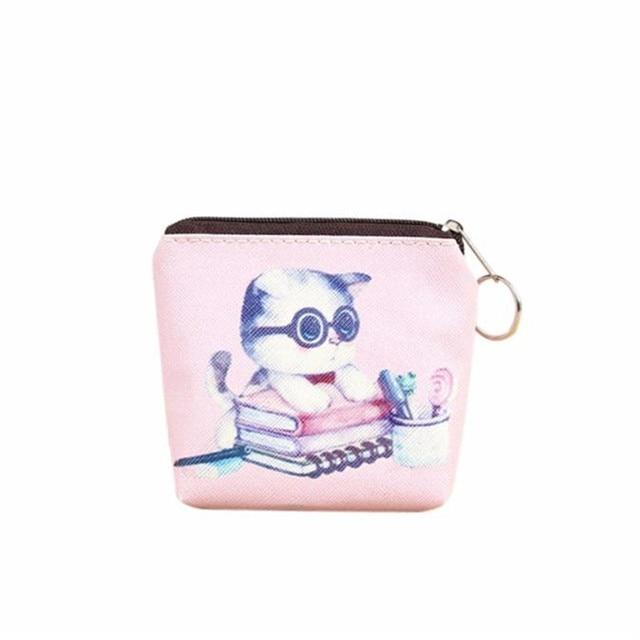 f75faab4638 Bags for women 2018 Cute Cat Women Girl Leather Zip Coin Purse Key Card Bag  Lady