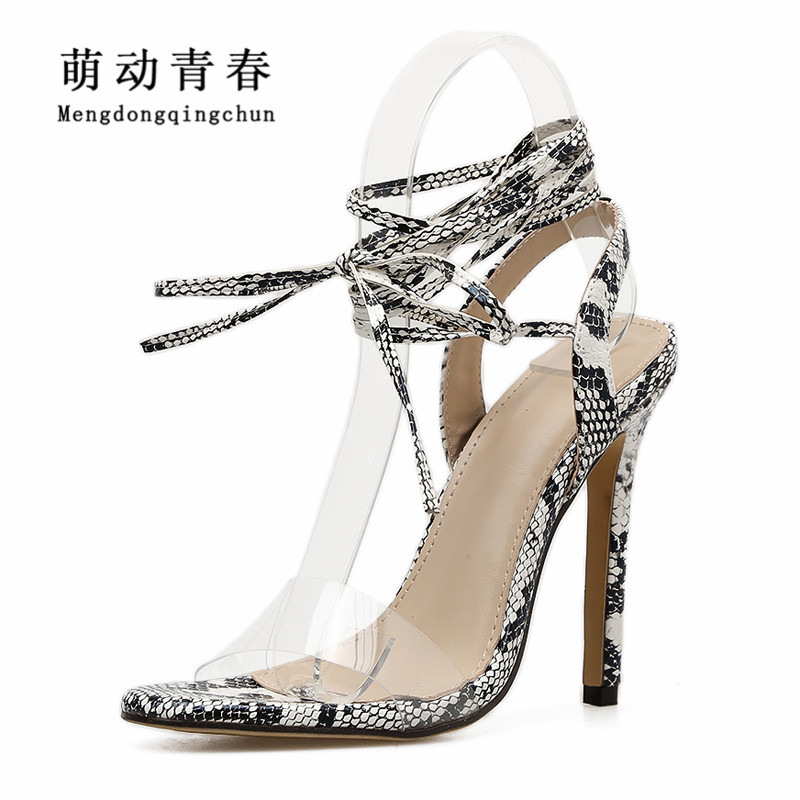 2018 Women High Heels Shoes Fashion Peep Toe Ankle Strap Thin Heels Shoes Women Lace Up Sexy Party High Heels Snake Print Pumps 2018new style summer high heels peep toe pumps fashion ankle strap club party shoes woman sexy peep toe platform shoe women