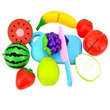 10 шт./компл. Пластик фрукты овощи резка Кухня Игрушки для раннего развития и образование игрушка для малышей(8 шт. Еда+ 2 шт. Кухонные принадлежности