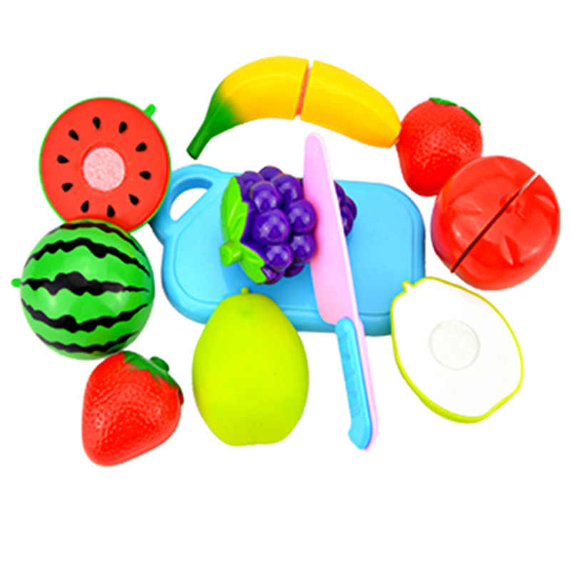 10Pcs/Set Plastic Fruit Vegetables Cutting Kitchen Toys Early Development and Education Toy for Baby(8Pcs Food+2Pcs Kitchenware)