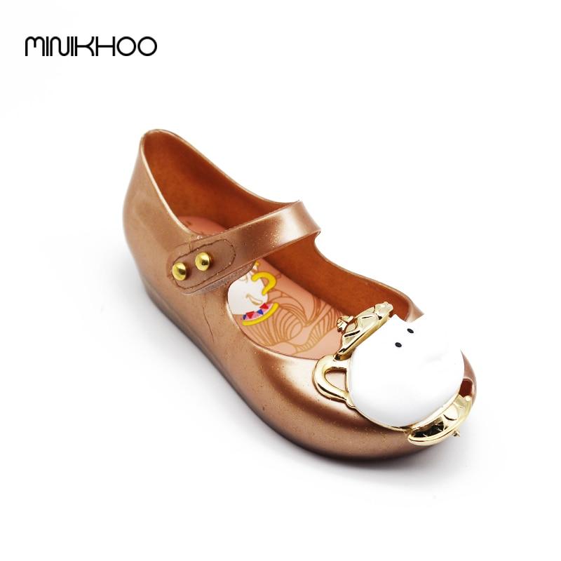 2017 New Sandals Summer Beauty Beast Mini Melissa Girls Shoes Jelly Sandals Princess Shoes Non-slip Girls Shoes Teacup Sandals