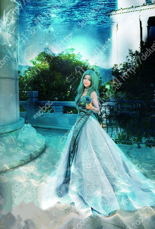 SAILOR MOON Sailor Neptune Kaiou Michiru Cosplay Costume High Quality Custom Made Light Green Dress