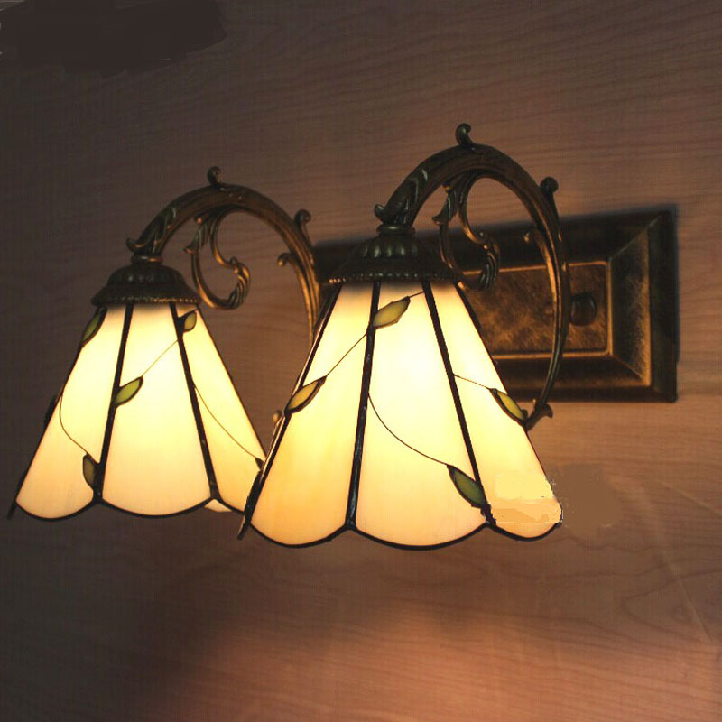 Tiffany glass wall lamp retro home lighting bedroom bedside lamp bathroom wall lights lamp 1 head 2heads green white tiffany baroque sunflower stained glass iron mermaid wall lamp indoor bedside lamps wall lights for home ac 110v 220v e27