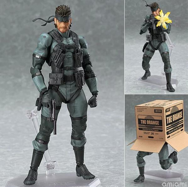 METAL GEAR SOLID 2: SONS OF LIBERTY Figma 243 Snake PVC Action Figure Collectible Model Toy 15cm MVFG373 metal gear solid action figure sons of liberty figma 298 soldier pvc toy 16cm anime games figures snake collectible model doll
