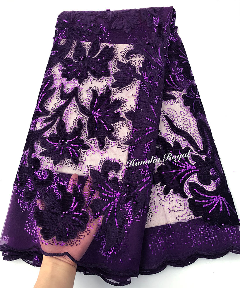 very soft shiny velvet embroidery African french lace fabric 5 yards Nigerian clothes sewing fabric with lots of small sequins