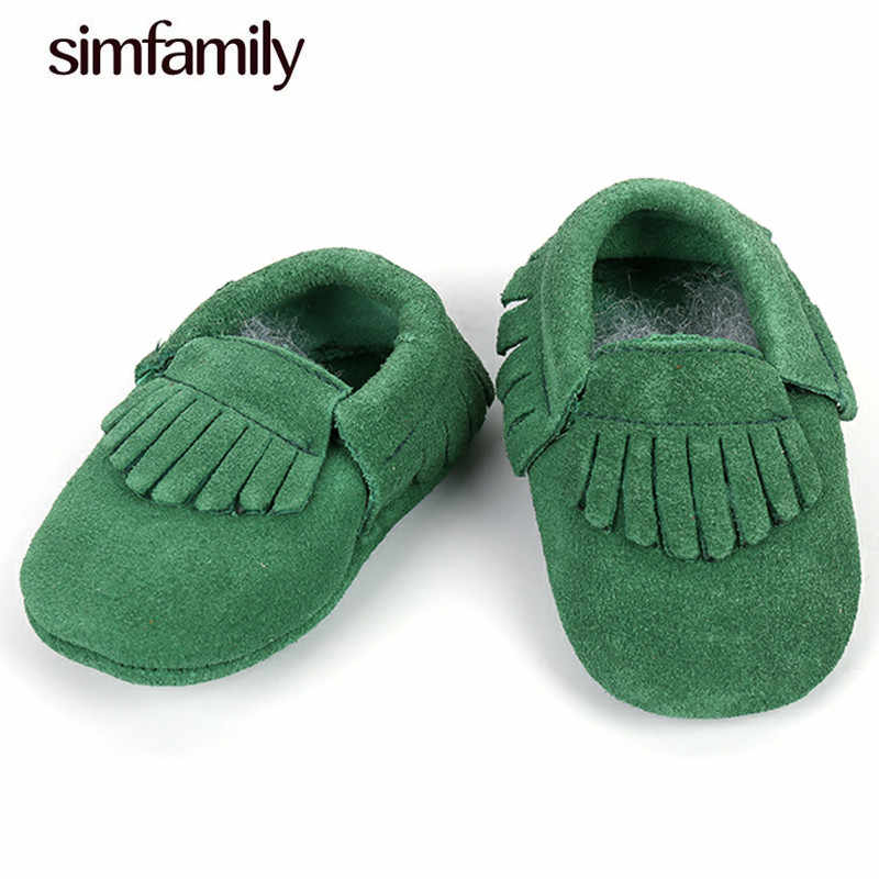 f1c4e9ca67775 simfamily]New Shine Pink Genuine Leather Baby moccasins First ...