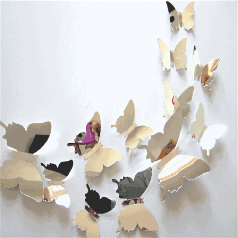 Hot sales 12pcs/set Mirror Wall Stickers Decal Butterflies 3D Mirror Wall Art Home Decors butterfly fridge wall decal on sale