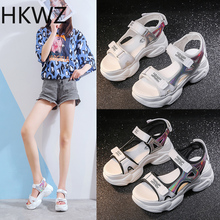 Summer muffin thick-soled color matching casual open toe sandals increased light and comfortable non-slip beach Roman sandals flat toe non slip roman beach sandals