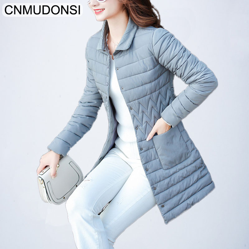 cnmudonsi Thin section Winter Collection Women's Coat Jacket Stand Collar Cold-Resistant Warm Long Parkas Female Quilting Cotton