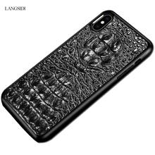 LANGSIDI 3D Crocodile Texture Genuine Leather covers for iphone x case 3d Leather cases for  iphone XR XS  Business phone cases langsidi тёмно коричневый iphone x