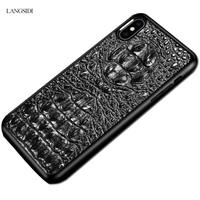 LANGSIDI 3D Crocodile Texture Genuine Leather covers for iphone x case 3d Leather cases for iphone XR XS Business phone cases