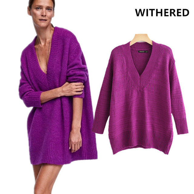fff46ef2b4f Withered winter sweater women 2018 high street vintage purple loose v-neck  long sweaters pullovers sweaters women plus size top