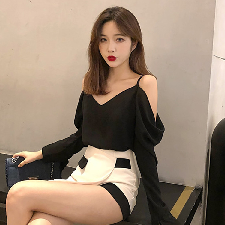 Women's Clothing Popular Brand 2018 Summer New Women Sexy Care Off Shoulder Sling Top Chiffon Shirt Bright And Translucent In Appearance