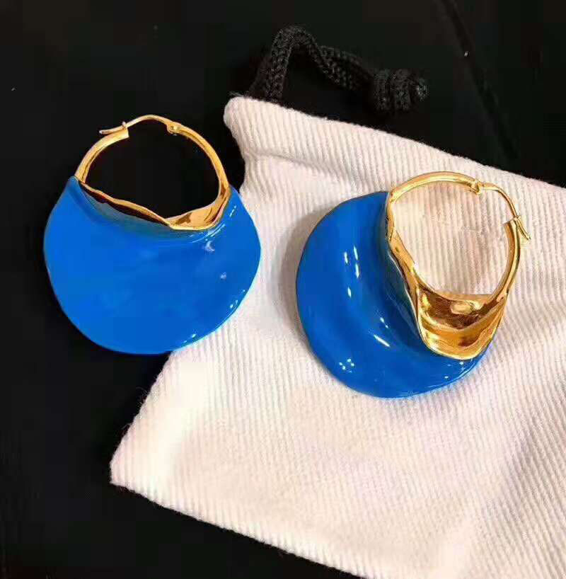 2018 Trendy Gold White Green Blue Color Big Circle Earrings For Women Fashion Large Earrings Jewelry