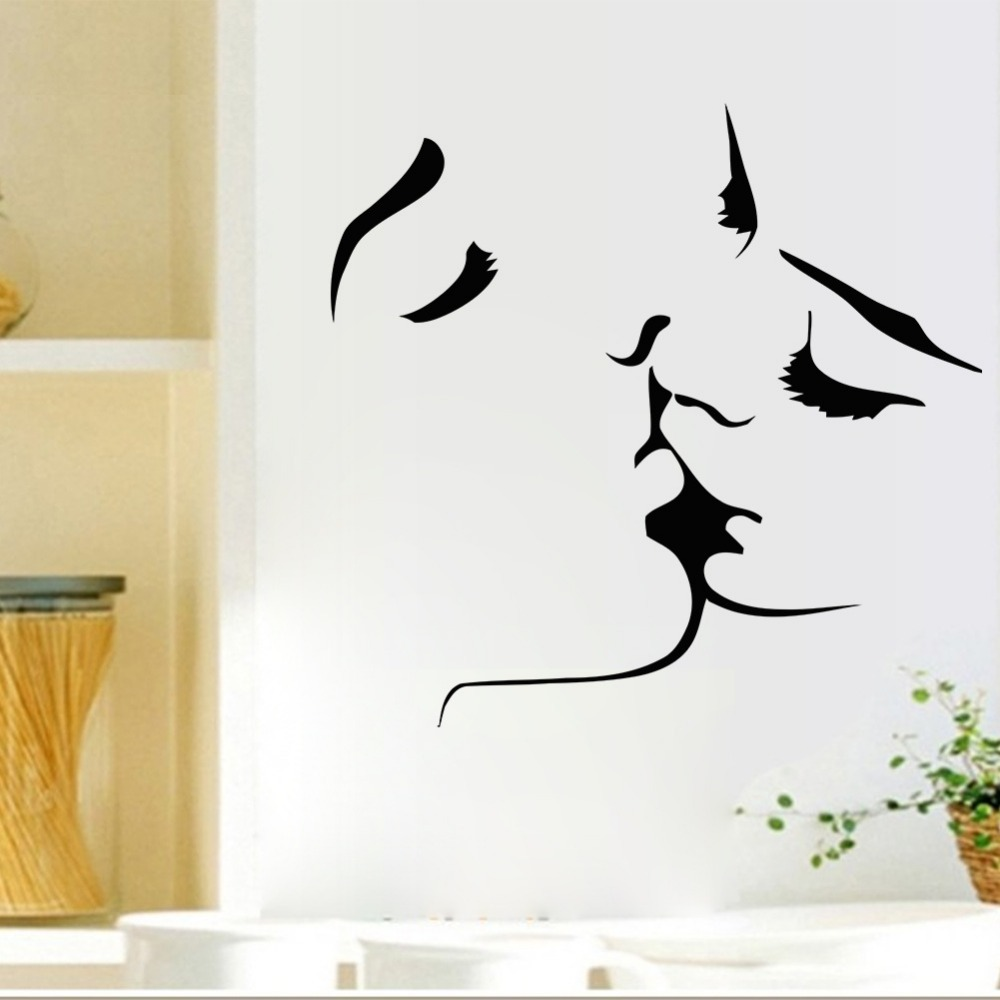 couple kissing vinyl wall stickers bedroom living room sofa backdrop art design stickers affixed home decoration in wall stickers from home garden on