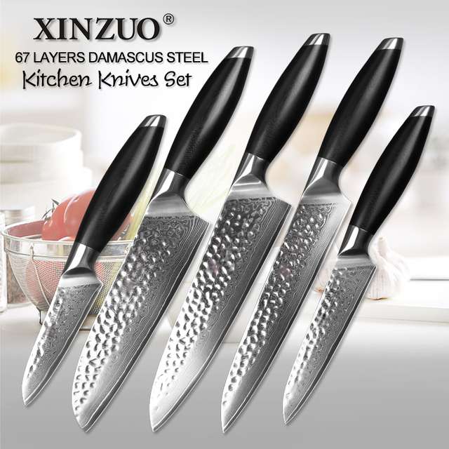Merveilleux 5 Pcs Chef Knives Set 67 Layers Japanese VG10 Damascus Steel Kitchen Knife  Set Cleaver Chef