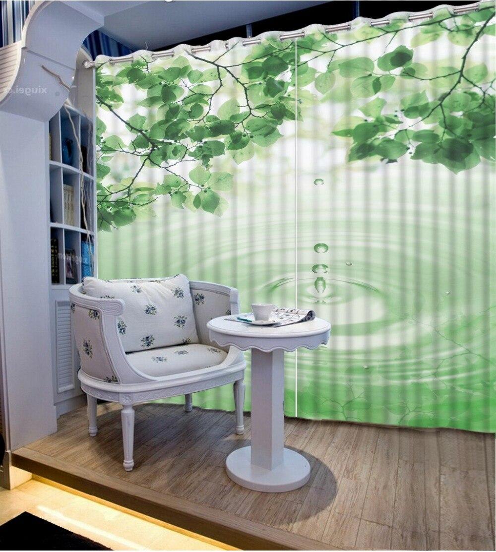 고품질 정전 침실 커튼 물 녹색 잎 사용자 정의 커튼 국가 침실 커튼 장식 홈 장식