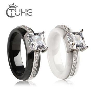 8mm cristal anneaux forme carrée livraison directe gros Carat en céramique anneaux une rangée de bijoux en cristal en gros pour les femmes fille cadeau