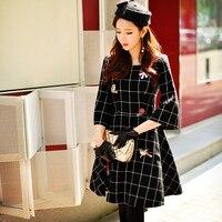 Original 2018 Brand Woolen Dress Autumn Winter Diamond Fashion Sequine Flower Vintage Black Plaid Dress Women Wholesale