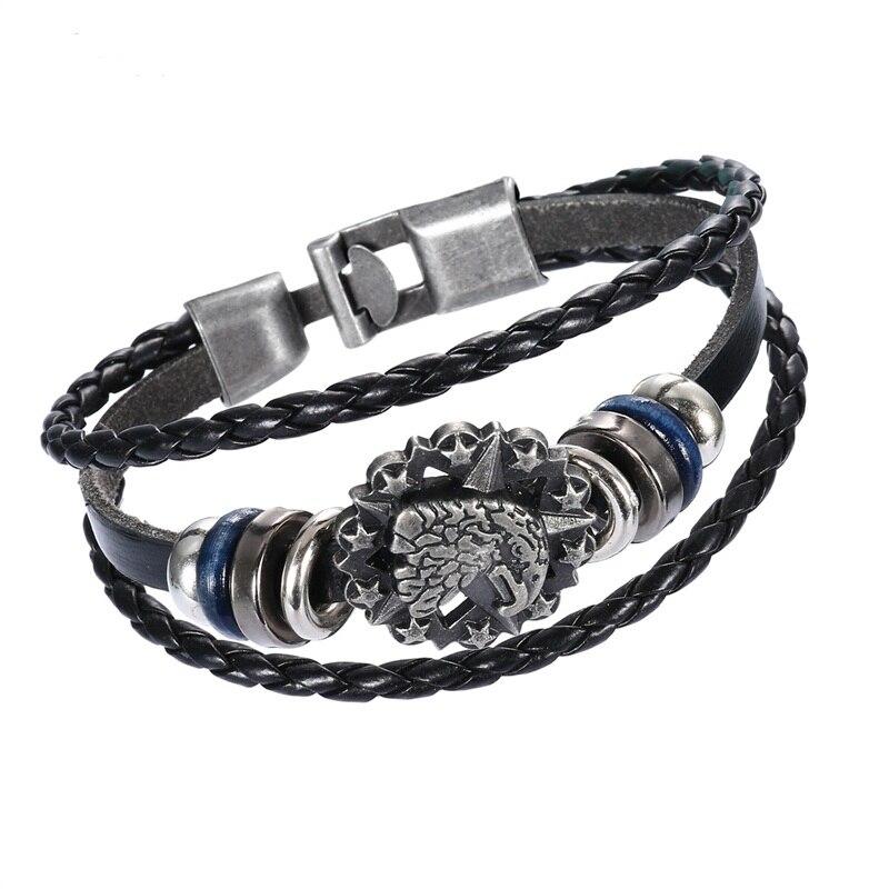 2018 Men Leather Bracelet Silver Eagle Charm Braided Rope Easy-hook Bracelet For Women Unisex Punk Wristband Pulseira Masculina