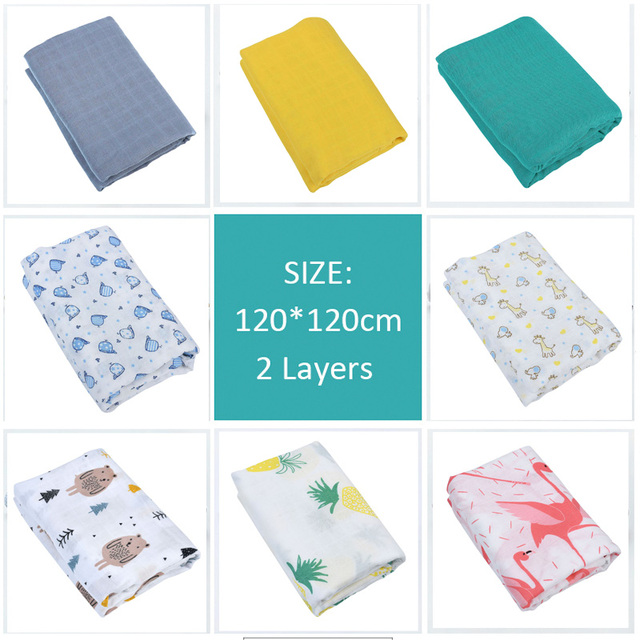 Baby produFlamingo Organic Baby Swaddle Muslin Bamboo Cotton Baby Blanket Diapers Envelope For Discharge Newborns Wrap Bedding For All (0-3 years) Nursery Shop by Age Swaddle Blankets
