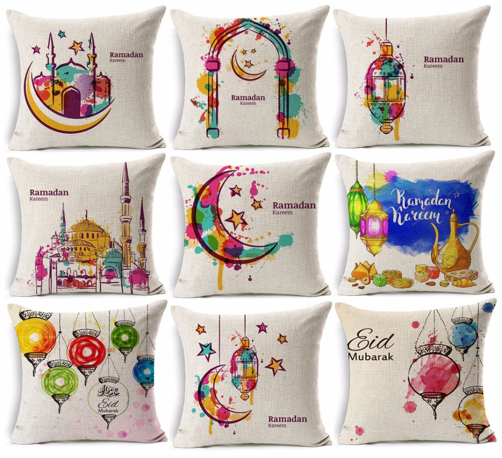 Ramadan Eid Mubarak Kareem Cushion Cover Watercolor Painting Moon Stars Lantern Mosque Cushion Covers Beige Linen Pillow Case
