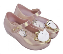 2017 Nouvelles Sandales D'été Beauté Bête Mini Melissa Filles Chaussures De Gelée Sandales Princesse Chaussures Non-slip Filles Chaussures Tasse De Thé sandales