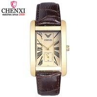 CHENXI Luxury Men Leather Strap Quartz Watch Male Simple Square Independent Second Dial Men S 30m