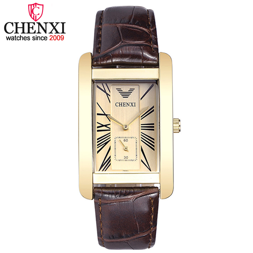 CHENXI Luxury Men Leather Strap Quartz Watch Male Simple Square Independent Second Dial Men's 30m Waterproof Relogio Masculino
