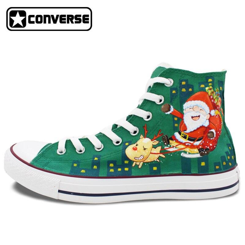 Prix pour Unique Cadeaux Santa Claus Renne De Noël Custom Design Peint À La Main Chaussures Garçons Filles Converse All Star Hommes Femmes Sneakers