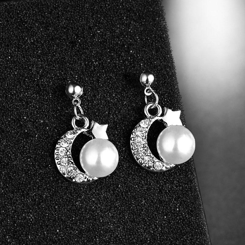New Korean Style Crystal Pearl Earrings for Women Wedding Party Cute Silver Heart Star Stud Earrings Geometric Statement Earings in Stud Earrings from Jewelry Accessories
