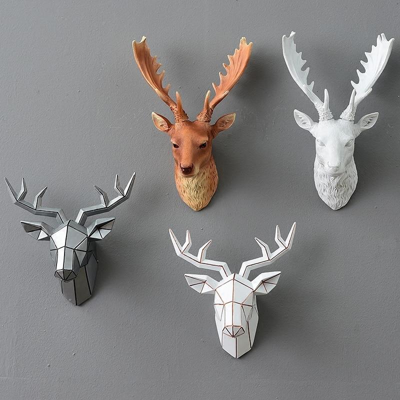 Europejska symulacja zwierząt dekoracji deer head stereo kreatywny salon mural rzemiosło żywicy wiszące na ścianie w Posągi i rzeźby od Dom i ogród na  Grupa 1