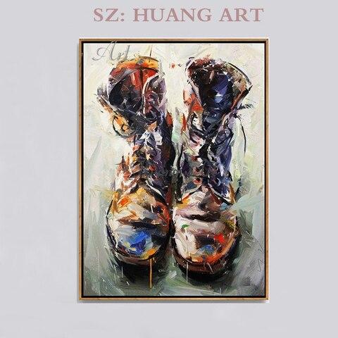 Pintados à Mão Pinturas a Óleo Botas Sapatos Industrial Nostalgia Criativo Mão Pinturas Entrada Pintura Bar Base Área Cênica