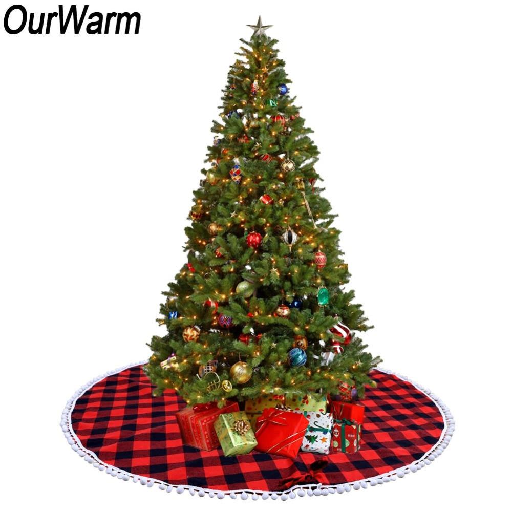 Linen Christmas Tree Skirt: OurWarm 122cm Red And Black Buffalo Plaid Christmas Tree