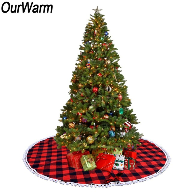 ourwarm 122cm red and black buffalo plaid christmas tree skirt pom pom balls edge xmas tree - Red And Black Plaid Christmas Decor