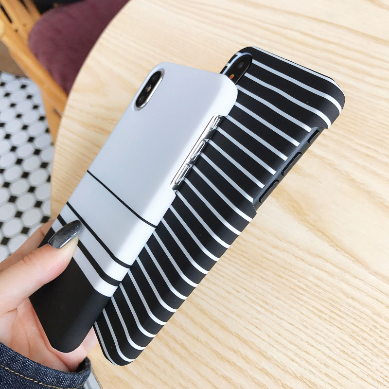 KIP7P1259_8_JONSNOW Black White Plaid Stripe Pattern Phone Case For iPhone 6 6S 7 8 Plus XS XR XS Max Cases Painted PC Hard Protective Back Cover