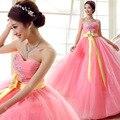 Vestido de 15 años princesa Rosa vestidos quinceanera debutante Querida Espartilho do Querido Vestidos de Baile com Beading Cristal