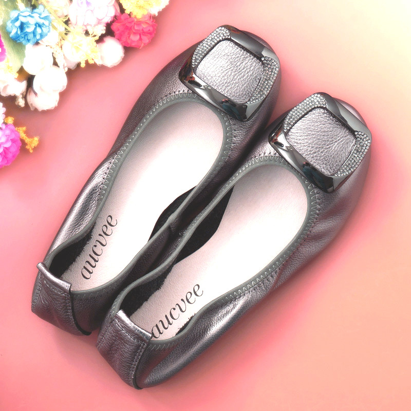 2018 new women leather shoes woman single shoes shallow round tow spring autumn ballet flats shoes women casual shoes New Genuine Leather Loafers Silver Gold Ballet Flats 2019 Casual Slip On Shoes Woman Shallow Soft Summer Spring Women Flat Shoes