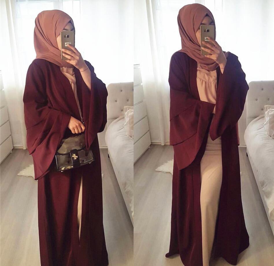 Winter abaya dress for muslim women pagoda sleeve