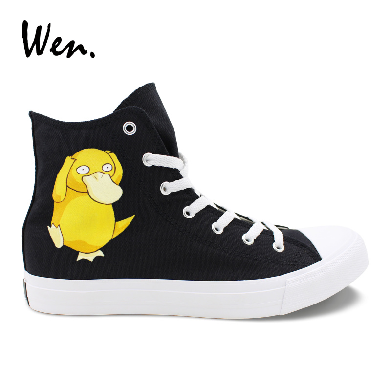 Wen Boys Cartoon Shoes Black Canvas Sneakers Design Psyduck Anime Pokemon Hand Painted Vulcanize Shoes Girls Casual Lacing Flat anime converse all star skateboarding shoes boys girls pokemon snorlax white black canvas sneakers design 2 colors