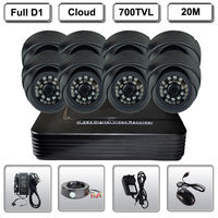 Home 8 CH DVR Surveillance System Security D1 700TVL Dome 3 6mm IR Cameras