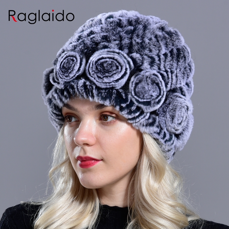 Raglaido Women's Hat Winter Real Rabbit Fur Hats Floral Solid Skulls Beanies Hand Knitting Female Snow Capshat For Girl LQ11282