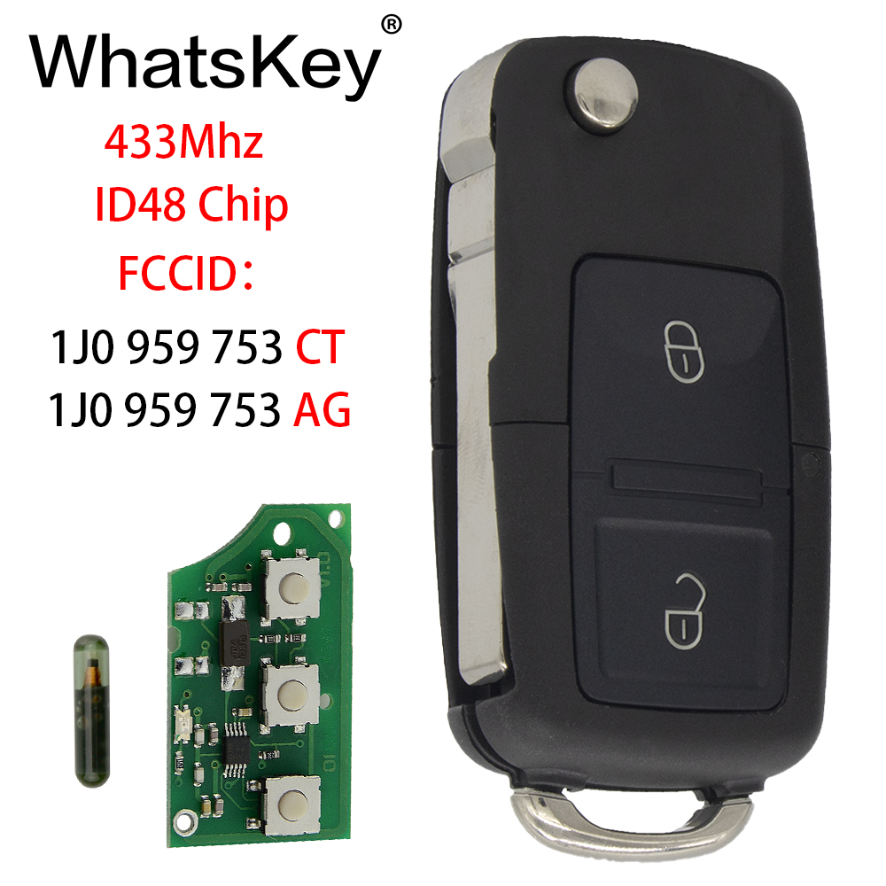 WhatsKey Remote Car Key 433Mhz ID48 Chip For Volkswagen VW 1J0959753CT 1J0959753AG Beetle Bora Polo Passat B5 Golf in Car Key from Automobiles Motorcycles