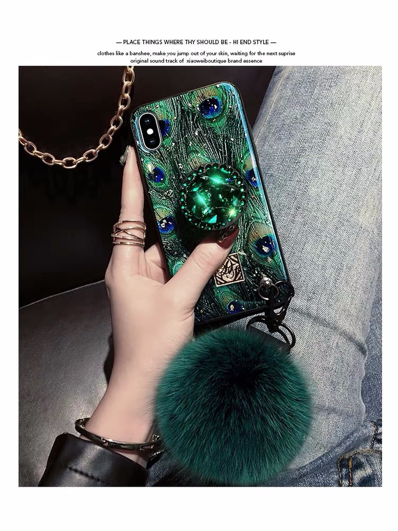 Image 5 - Hair ball rhinestone bracket For iPhone 6 6s 7 8 Plus  Cases Soft For iPhone X S MAX Back Cover Coque-in Fitted Cases from Cellphones & Telecommunications